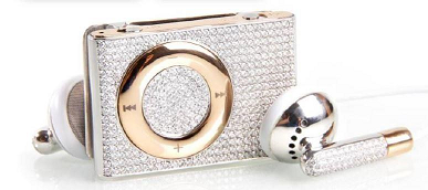 The iDiamond MP3 player: 18K solid gold with 430 diamonds.