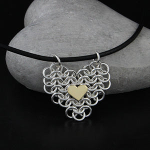 Chainmail Heart Necklace by Kredah Design - Norwegian Jewelry