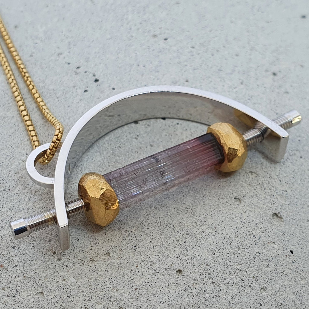 André Normann Under Pressure Bow Statement Pendant | Norwegian Jewelry designer and goldsmith in Østfold Norway