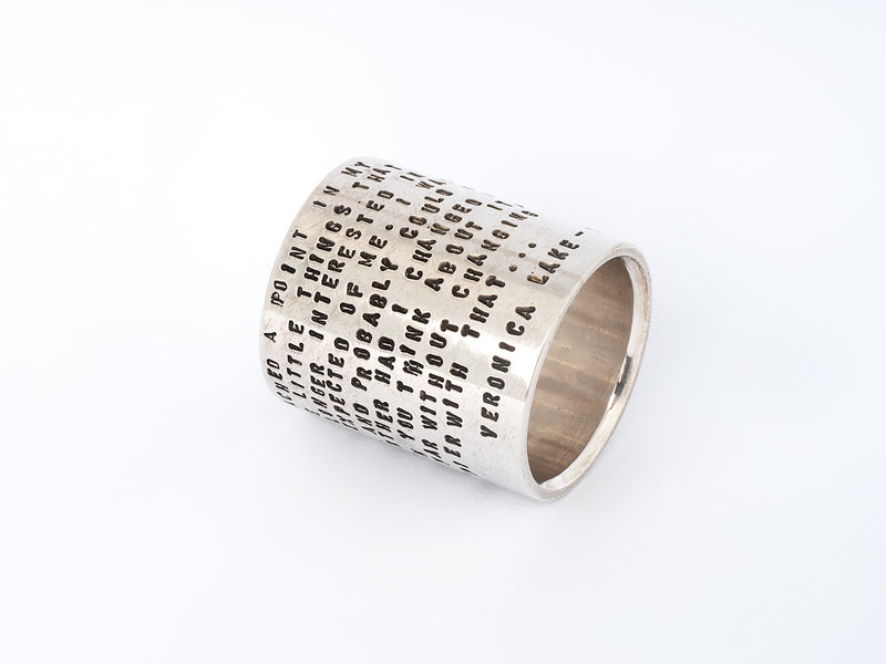 Norwegian jewelry by Sjür Jewelry features the Large Ring with Stamped Statement by Sjur Hassel of Metallstudio in Tromsø, Norway.  The statement is by Veronica Lake, an American actress famous in the 1940s.