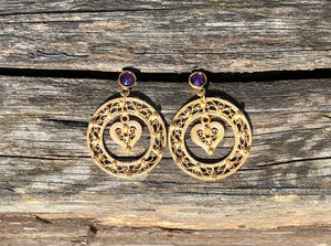Round Filigree Earrings with Hearts by Camilla and Ivar Bendemo - Norwegian Jewelry from Telemark.