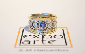 Expo Arte - White and Yellow Gold Ring with Gemstones. Rings - Norwegian Jewelry features artisan jewellery designers and goldsmiths from Norway.