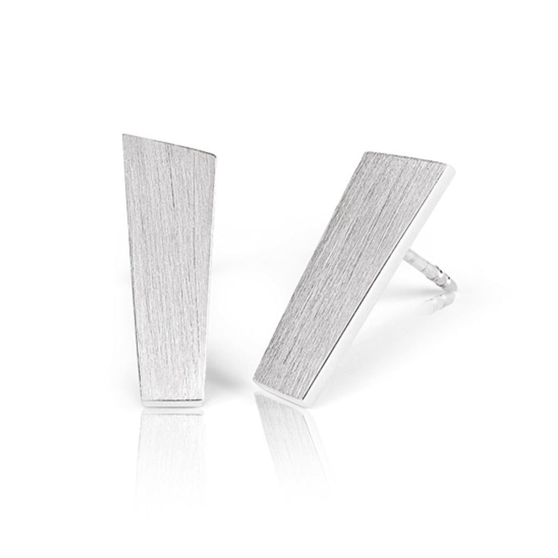 Ekenberg Scandinavia - Preikestolen (Pulpit Rock)  15mm Sterling Silver Earrings with Matte Finish - Norwegian Jewelry
