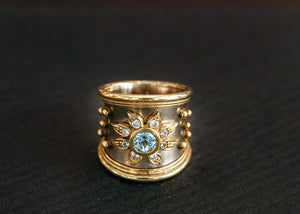 Expo Arte - Gold Ring with Aquamarines and Diamonds. Rings - Norwegian Jewelry features artisan jewellery designers and goldsmiths from Norway.