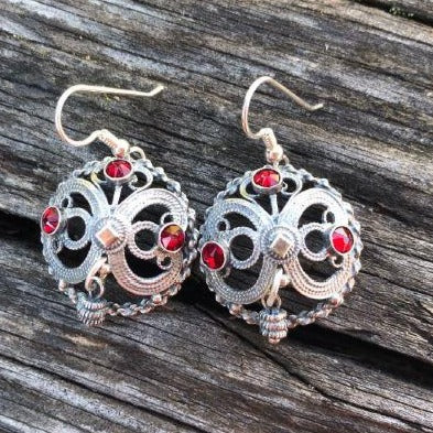 Filigree Earrings with Red Swarovski Cyrstals