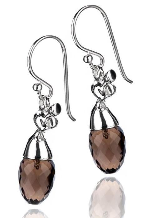 Vido Jewels - Madikeri Earrings with Smokey Quartz Earrings - Norwegian Jewelry features artisan jewellery designers and goldsmiths from Norway.