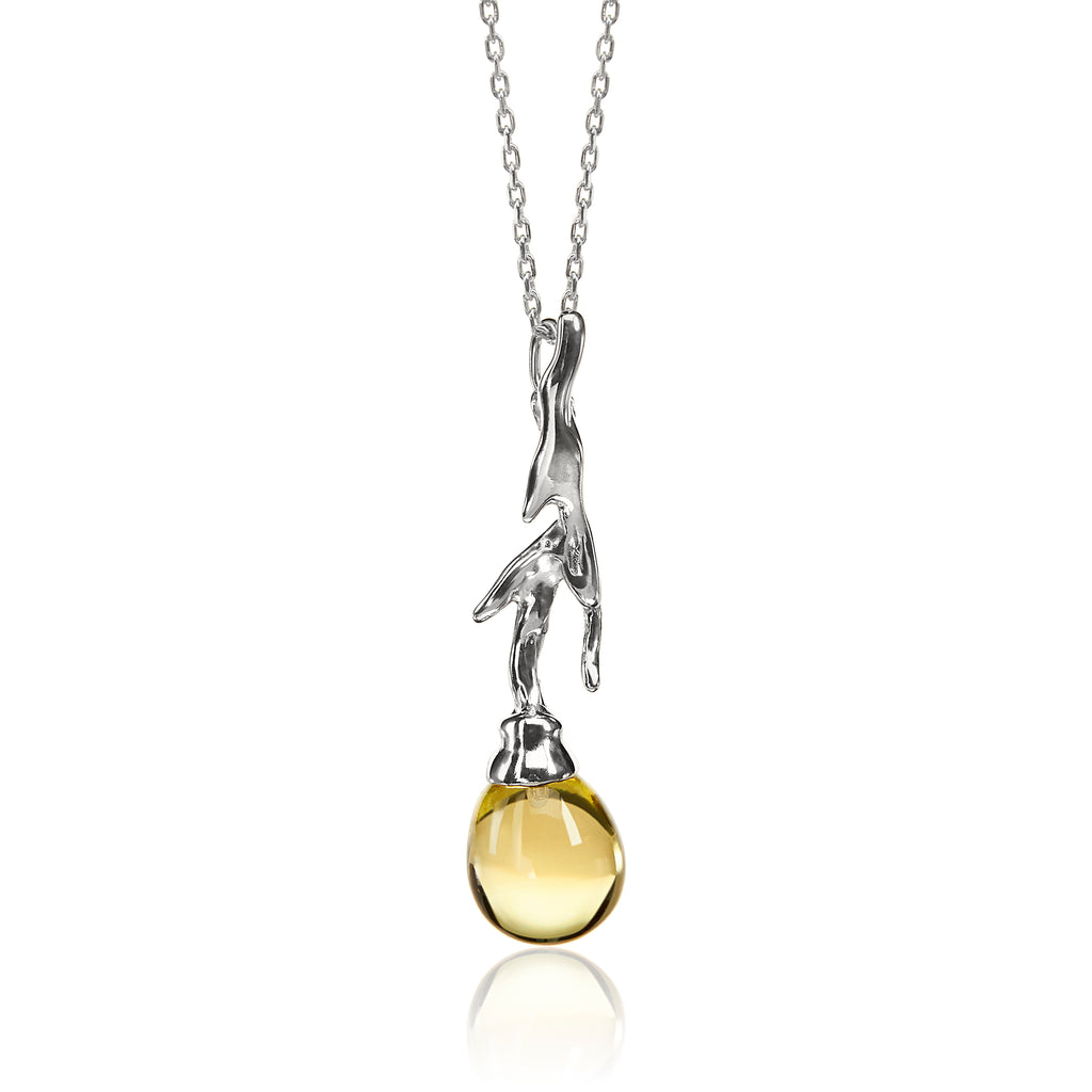 Vido Jewels - Branch Pendant made with Lemon Quartz Pendant - Norwegian Jewelry features artisan jewellery designers and goldsmiths from Norway.