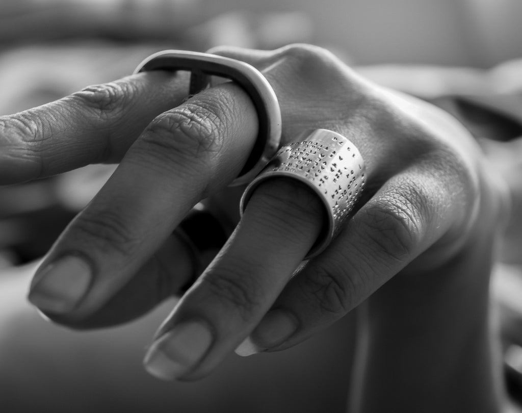 Sjür Jewelry - Chain Link Double Finger Heavy Solid Silver Ring Rings - Norwegian Jewelry features artisan jewellery designers and goldsmiths from Norway.