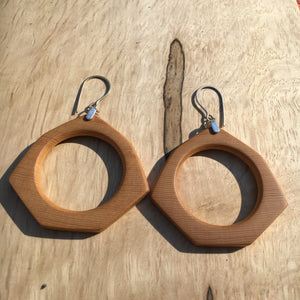 Old-growth Port Orford Cedar hoop earrings - medium