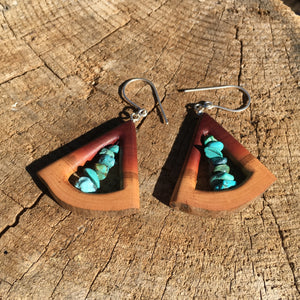 Butte Fire Manzanita - triangle and turquoise earrings