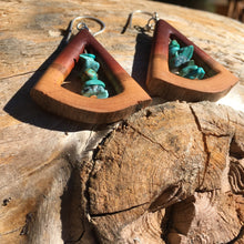 Load image into Gallery viewer, Butte Fire Manzanita - triangle and turquoise earrings