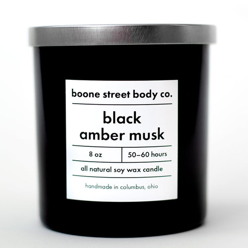 Black Amber Musk All-Natural Candle - Boone Street Body Co.