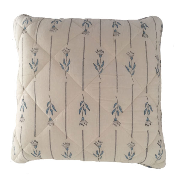Blue Flower And Grey Stripes With Dots Cushion
