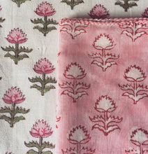 Load image into Gallery viewer, Hand Block Printed Pink Flower Napkin Set (Includes six napkins)