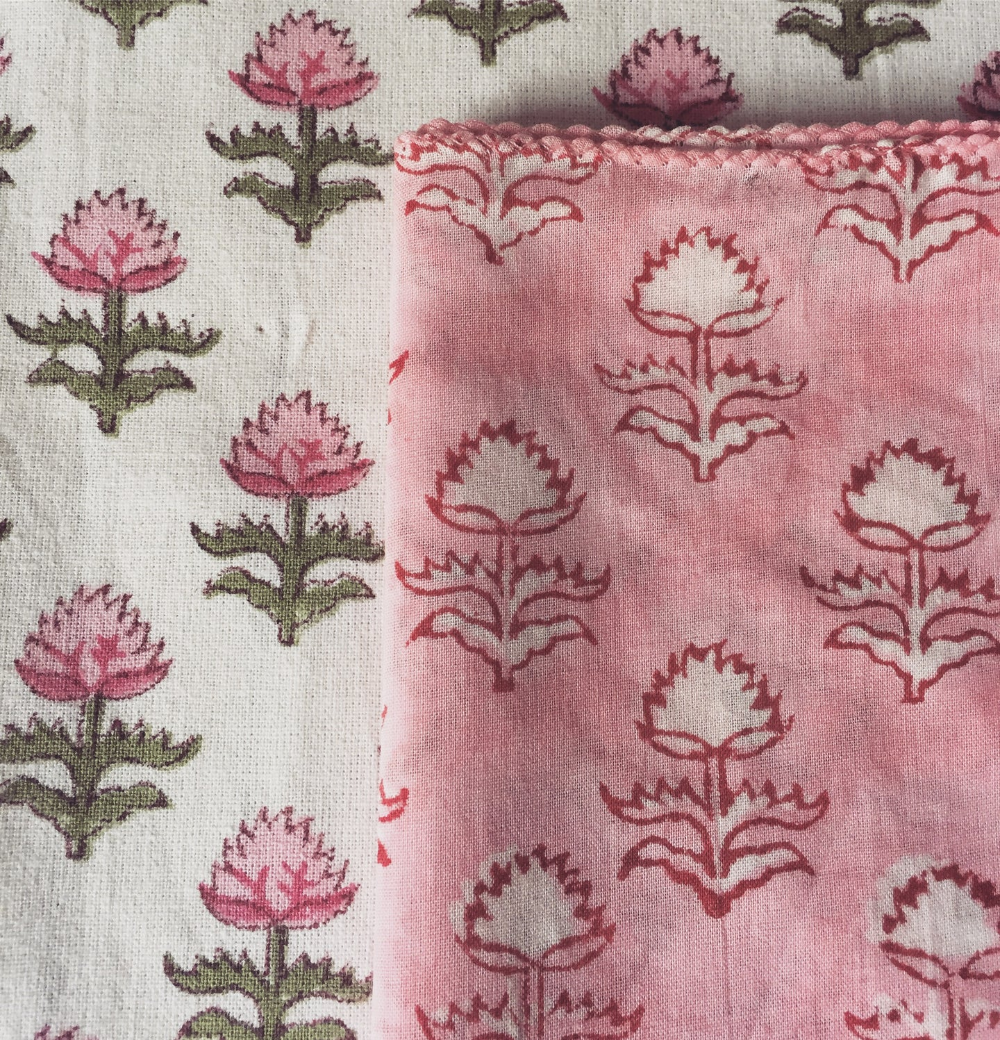 Hand Block Printed Pink Flower Napkin Set (Includes six napkins)