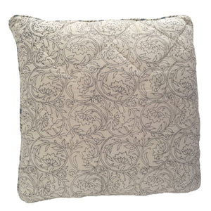 Grey Botanical And Blue Twigs Cushion