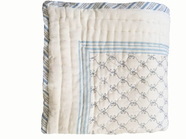 Blue Jaali And Grey Sprigs Organic Quilted Blanket