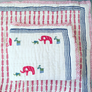 Organic Elephant Family Quilted Mini Blankets