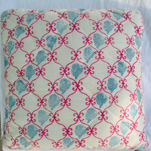 Fuschia Pink Hand block printed Cushion 45 x 45 cm