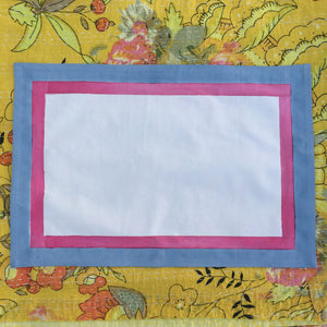 Hand Block Printed Pale Blue and Pink Border Place Mat Set (Includes six place mats)