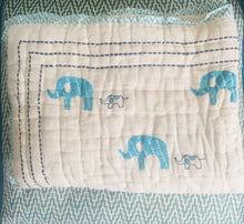 Load image into Gallery viewer, Organic Aqua Elephant Quilted Mini Blankets