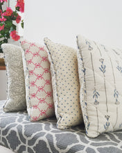 Load image into Gallery viewer, Blue Flower And Grey Stripes With Dots Cushion