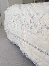 Load image into Gallery viewer, Blue Jaali And Grey Sprigs Organic Quilted Blanket