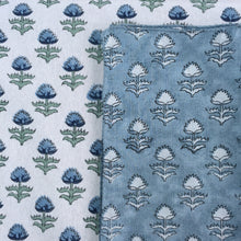 Load image into Gallery viewer, Hand Block Printed Blue Flower Napkin Set (Includes six napkins)