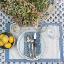 Load image into Gallery viewer, Hand Block Printed Pale Blue Border Place Mat Set (Includes six place mats)