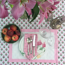 Load image into Gallery viewer, Hand Block Printed Pink Border Place Mat Set (Includes six place mats)