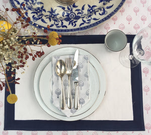 Hand Block Printed Blue Artichoke Napkin Set (Includes six napkins)