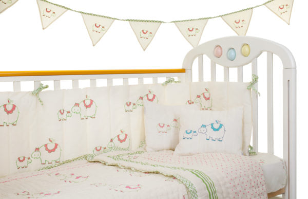 Organic Cotton Hippo Family Cot Bumper