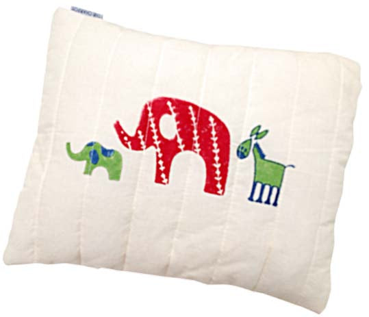 Organic Elephant Family Quilted Mini Cushion