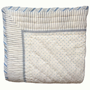 Blue Flower And Grey Stripes With Dots Organic Quilted Blanket