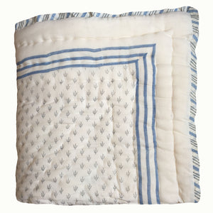 Blue Botanical And Grey Twigs Organic Quilted Blanket