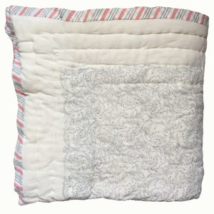 Grey Botanical And Pink Twigs Organic Quilted Blanket