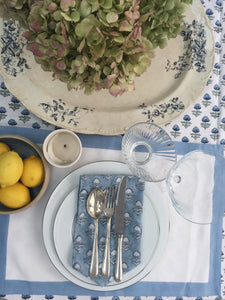 Hand Block Printed Blue Flower Napkin Set (Includes six napkins)