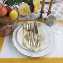 Load image into Gallery viewer, Hand Block Printed Yellow Flower with stripes Napkin Set (Includes six napkins)