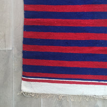 Load image into Gallery viewer, Limited Edition Red & Blue Stripe Hand Woven Dhurrie