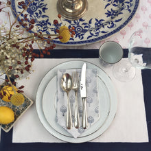 Load image into Gallery viewer, Hand Block Printed Midnight Blue Border Place Mat Set (Includes six place mats)