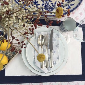 Hand Block Printed Midnight Blue Border Place Mat Set (Includes six place mats)