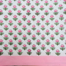 Load image into Gallery viewer, Hand Block Printed Pink Flower Table Cloth