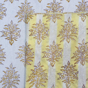 Hand Block Printed Yellow Flower with stripes Napkin Set (Includes six napkins)