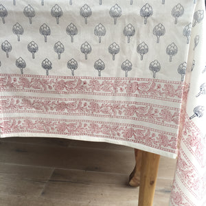 Hand Block Printed Blue Artichoke Table Cloth