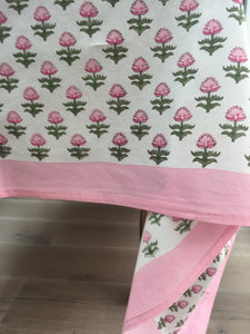 Hand Block Printed Pink Flower Table Cloth