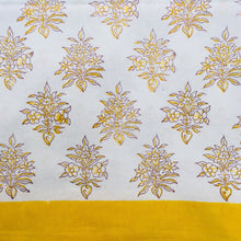 Load image into Gallery viewer, Hand Block Printed Yellow Flower Table Cloth