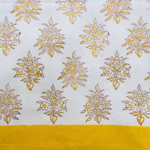 Hand Block Printed Yellow Flower Table Cloth