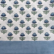 Load image into Gallery viewer, Hand Block Printed Blue Flower Table Cloth