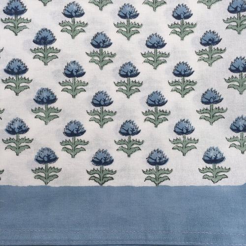 Hand Block Printed Blue Flower Table Cloth