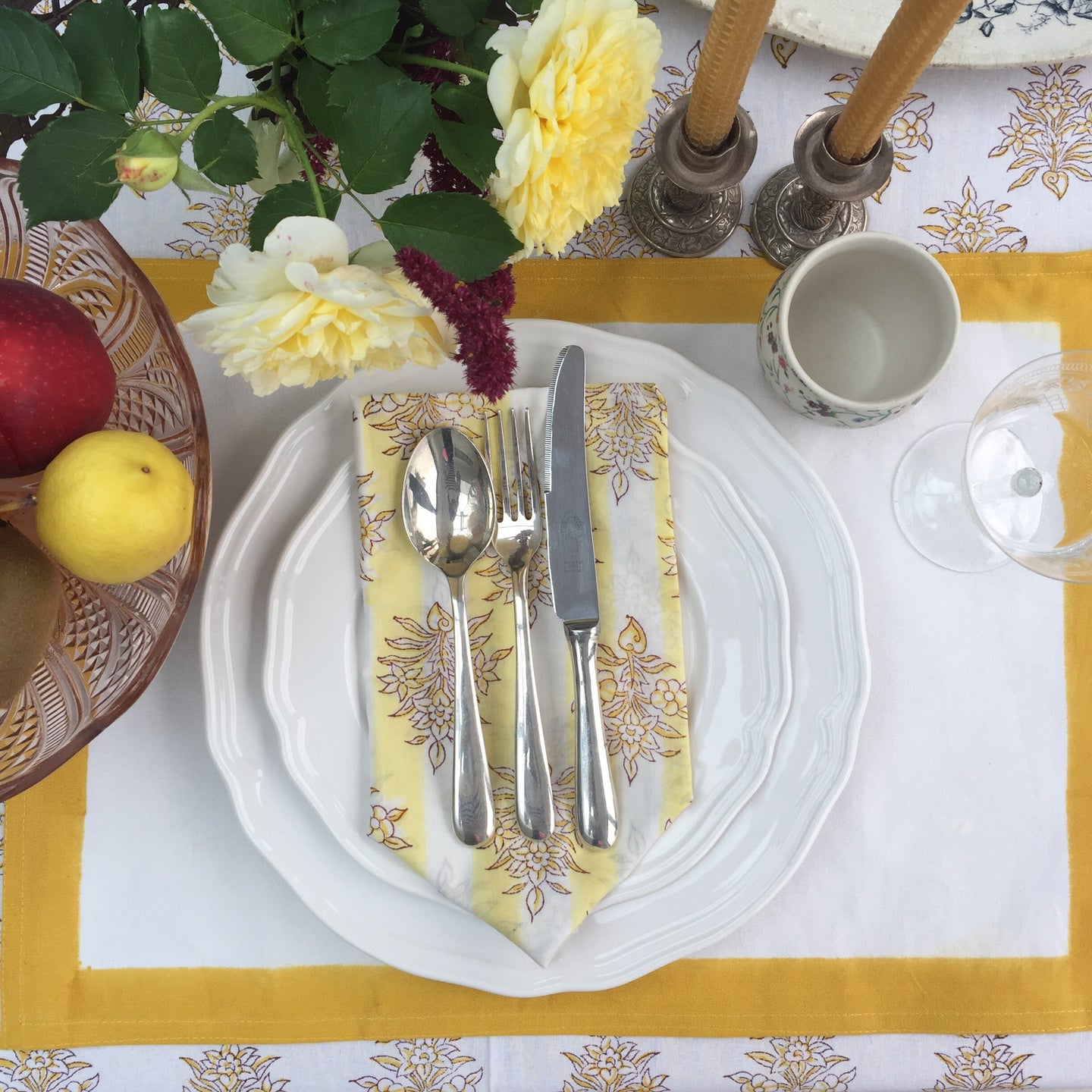 Hand Block Printed Yellow Border Place Mat Set (Includes six place mats)